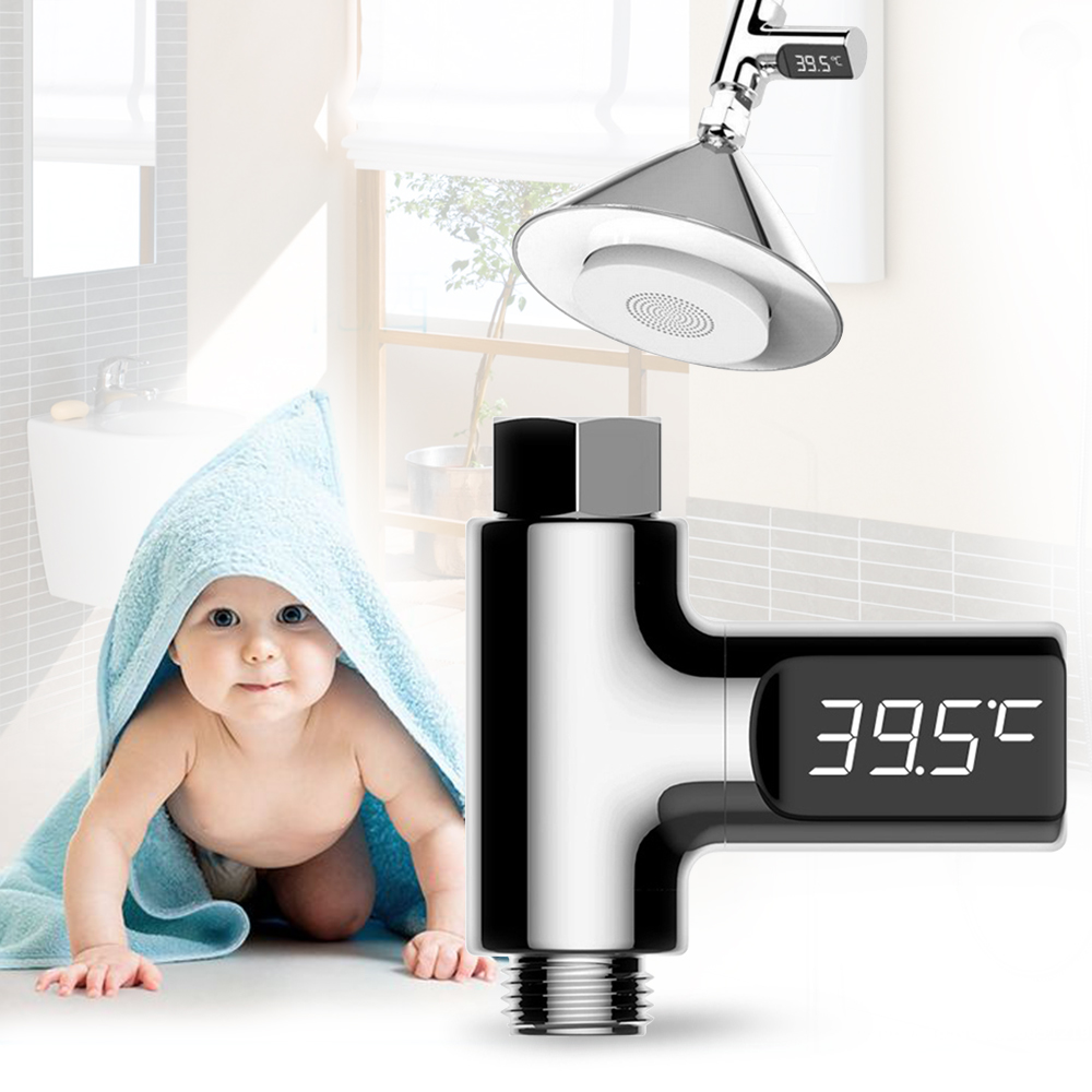LED Display Home Water Temperature Monitor 5~85 Deg.C Flow Self-Generating Electricity Water Shower Thermometer for Baby Care