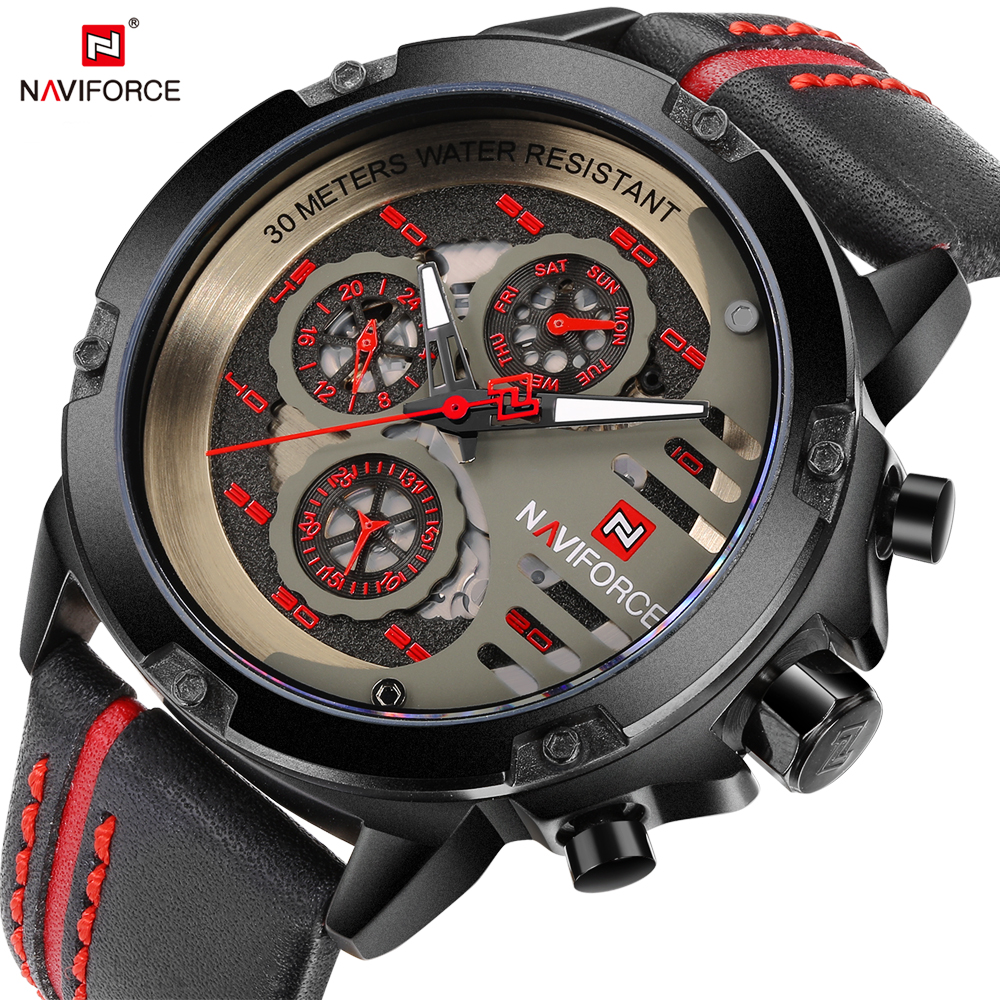 NAVIFORCE Sport Men Leather Wrist Watch Date Week Display Army Military Mens Quartz Analog Watches Male Clock Relogio Masculino лопата zipower pm 2176 для уборки снега