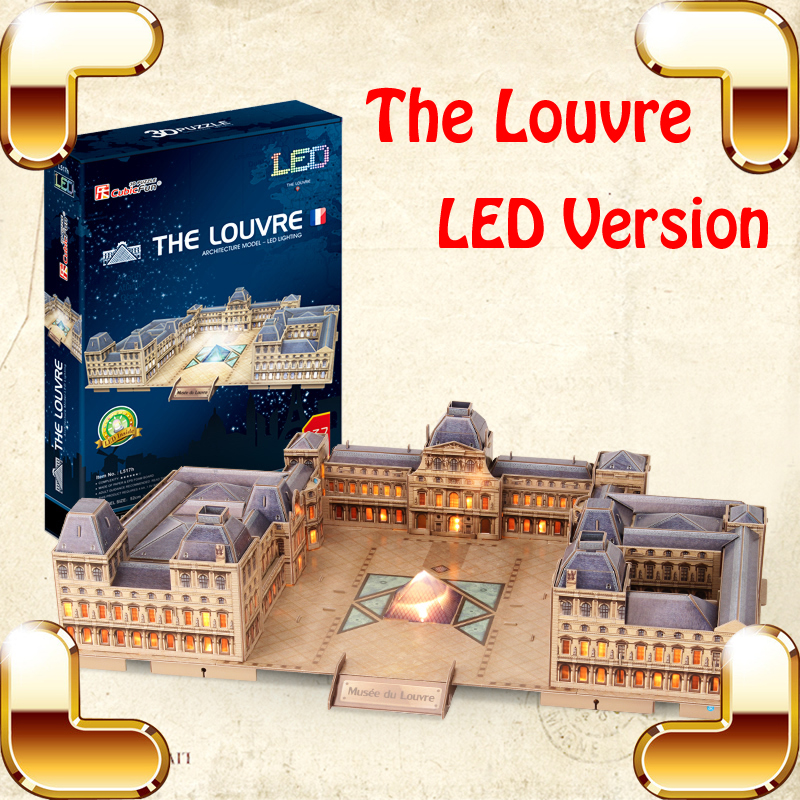 New Year Gift The Louvre 3D Puzzle Model Building Toys DIY LED Show Display Handmade Decoration Adult Puzzle Collection Game Toy led 3d puzzle toys l503h empire state building models cubicfun diy puzzle 3d toy models handmade paper puzzles for children