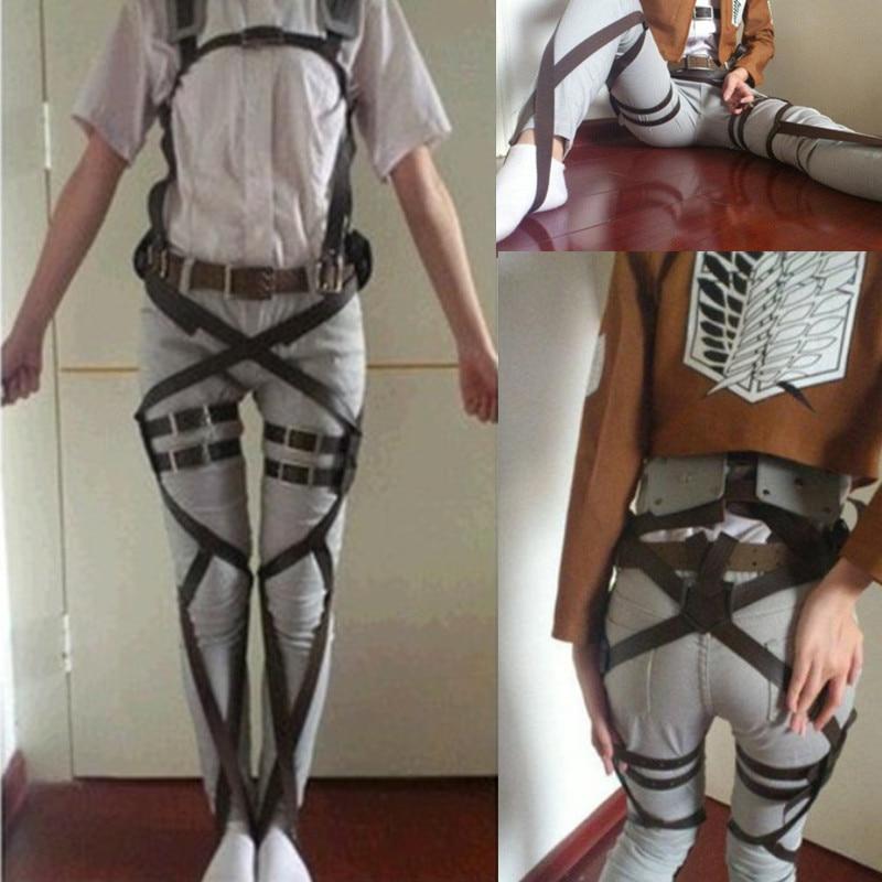 Unisex Attack On Titan Shingeki No Kyojin Recon Corps Harness Belts Hookshot Cosplay Halloween Costumes Adjustable Belts sets