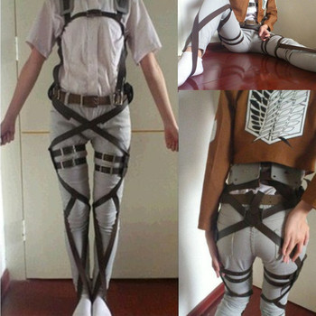 Unisex Attack On Titan Shingeki No Kyojin Recon Corps Harness Sabuk Hookshot Cosplay Halloween Kostum Sabuk Adjustable set