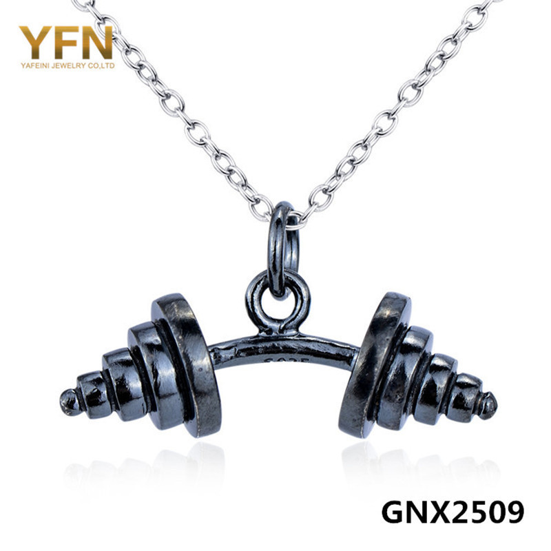 weightlifting jewelry gym necklace pendant crossfit chain charm fitness dumbbell itm
