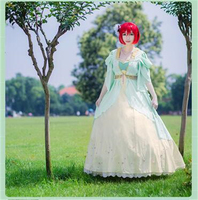 New Anime Snow White with the Red Hair Akagami no Shirayuki Hime Eveninggown Full Cosplay Costume Dress