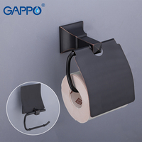 GAPPO Paper Holders black brass toilet paper roll holder Bathroom Roll Holder Wall Mounted Bathroom Accessories