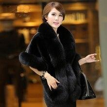 2016 New Haining Fox Fur Coat Cloak Skinny Imitation Mink Fur Shawl Female Clearance Special Offer Faux Fur Opera Cape
