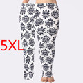 Autumn Winter Hot Sale Plus Size 5XL Fat MM Blue and White Porcelain Print Slim Pencil Vintage Women Leggings