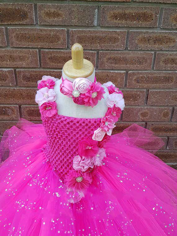 Шикарная мечта, ярко-розовое платье-пачка с цветочным узором для девочек свадебное платье блестящее v-образное платье-пачка детское платье подружки невесты