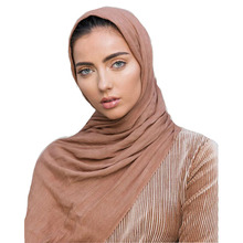 LARRIVED High Quality Women 100% Rayon Crinkle Scarf Cotton Wrinkle Muslim Hijab Wraps Headband Long Scarves 14 color 180*95cm
