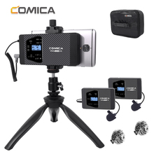 Wireless Microphone CVM-WS60 Dual Lavalier Lapel System for iPhone Smartphones Mic Canon Nikon Camera