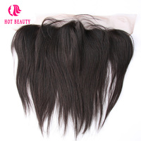Hot Beauty Hair Straight Peruvian Remy Hair Free Part Ear to Ear 13*4 Lace Frontal Pre Plucked Natural Color 100% Human Hair