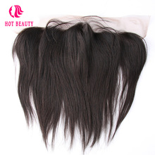 Hot Beauty Hair Straight Peruvian Remy Hair 13*4 Lace Frontal Pre Plucked Natural Black Color 100% Human Hair Free Shipping