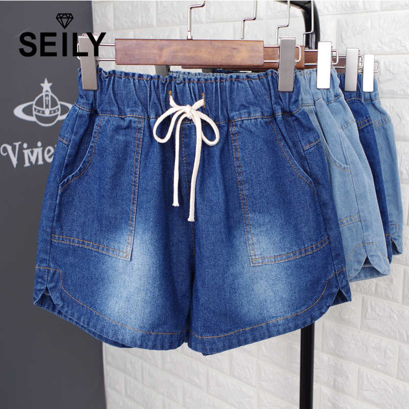 a20242bd481 5XL Plus Size Casual Women Denim Cotton Shorts Elastic High Waisted Shorts  Jeans Summer Woman HotPants