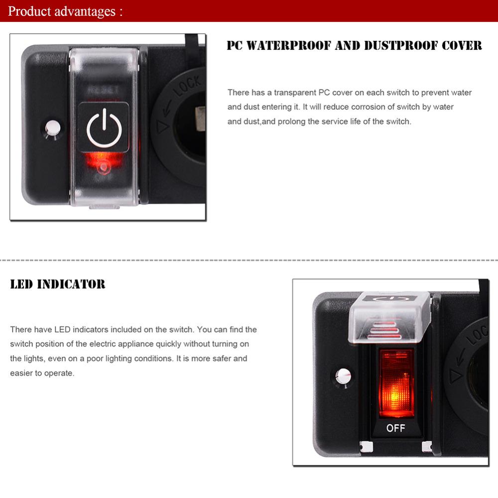 IZTOSS Car / RV / Ship Caravan Motorhome DC 12V Auto One-Band Lens Switchs  Combination Panel Dual Usb Auto Lighter Socket