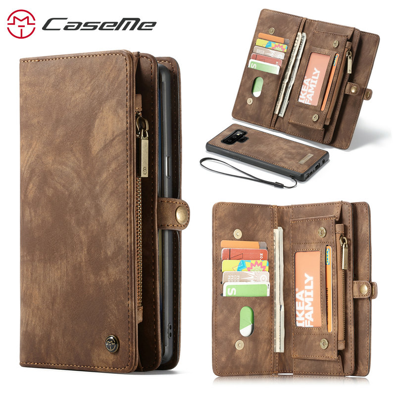 CaseMe Wallet Case For Samsung Galaxy Note 9 Luxury Genuine Leather Multi-functional Zipper Stand 2 in 1 Flip Leather Case Note9 wallet