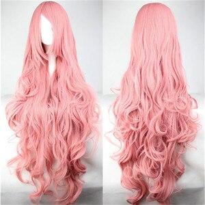 Image 3 - WoodFestival 100 cm 코스프레 가발 핑크 옐로우 퍼플 고온 섬유 내열성 긴 물결 모양의 합성 가발 여성을위한