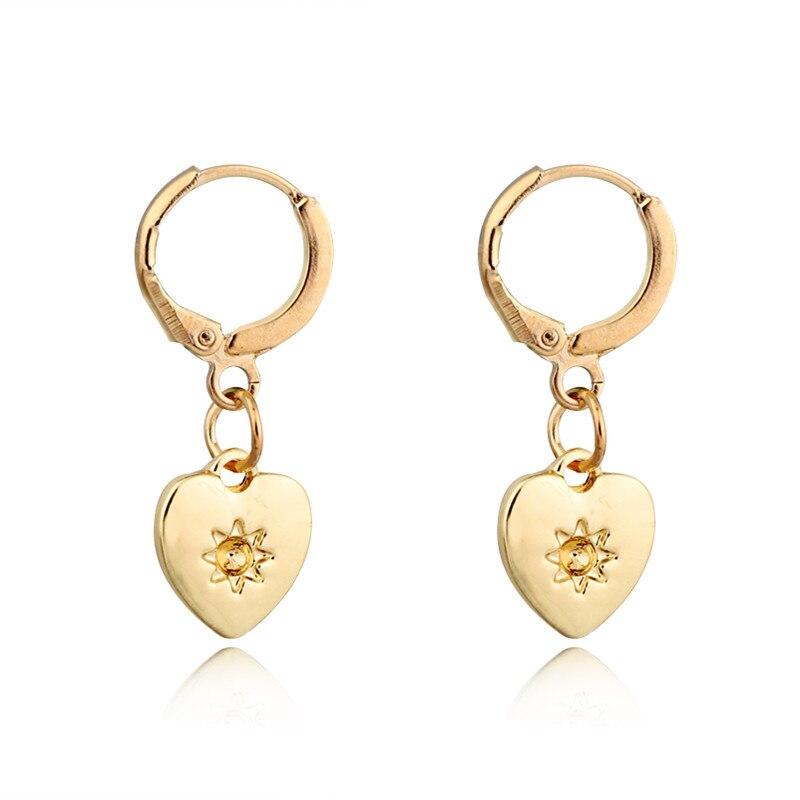 1 Paar Gold Silber Farbe Herz Anhänger Kleine Hoop Ohrringe Für Frauen Nette Glossy Liebe Sonne Kreis Ohrringe Schmuck Brincos E749-3 Offensichtlicher Effekt