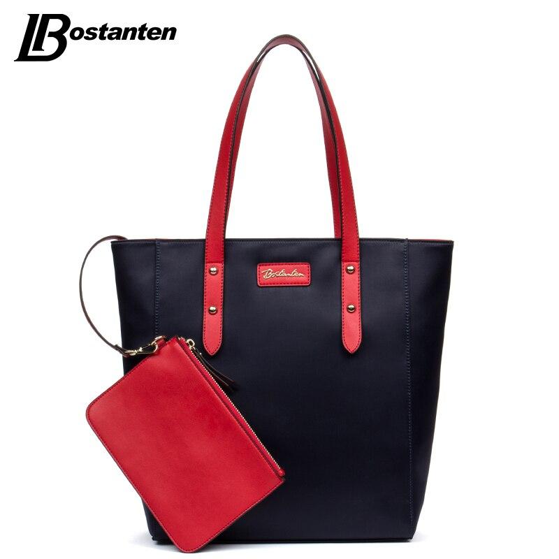 ФОТО BOSTANTEN Brand Canvas Women Shoulder Bags Rivet Composite Bags Set Ladies Totes Bags Large Designer Handbags Female Sac A Main