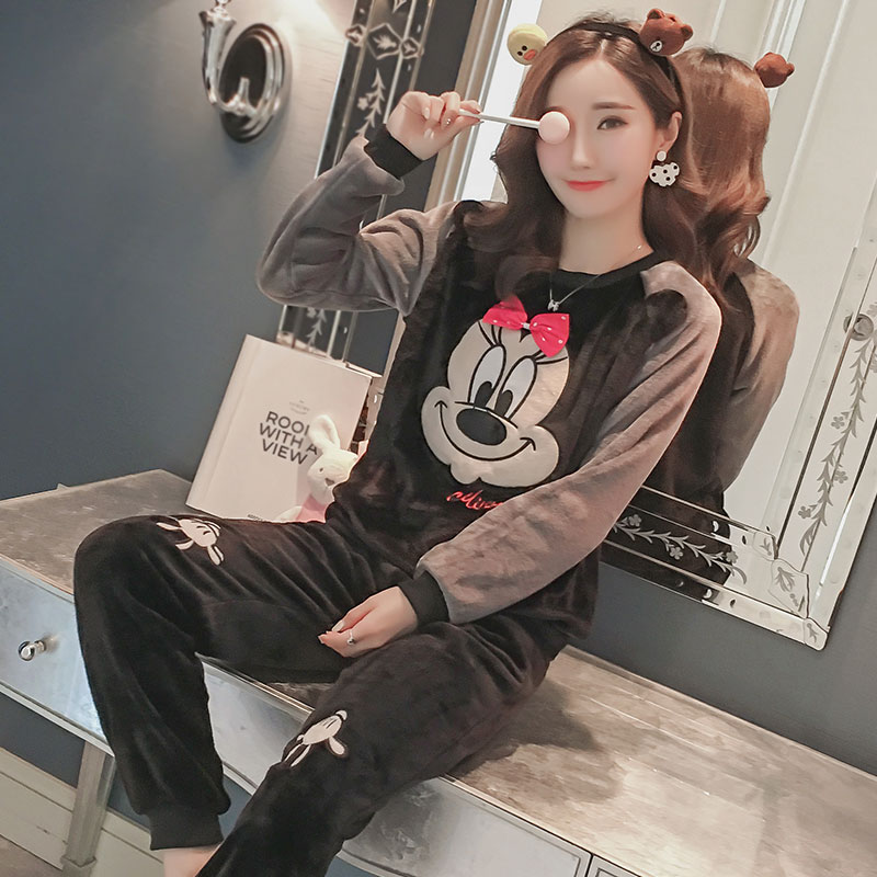 2pcs 2019 winter spring women ladies Thick Warm soft Flannel black mouse pajamas suit Female Cartoon home sets snow clothes