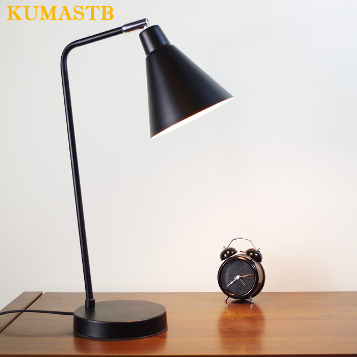 Simple Table Lamp Bedroom Bedside Light Eyecare Study Reading E27 LED Table Lamp 360 Degree Rotatable Working Study Desk Lamp