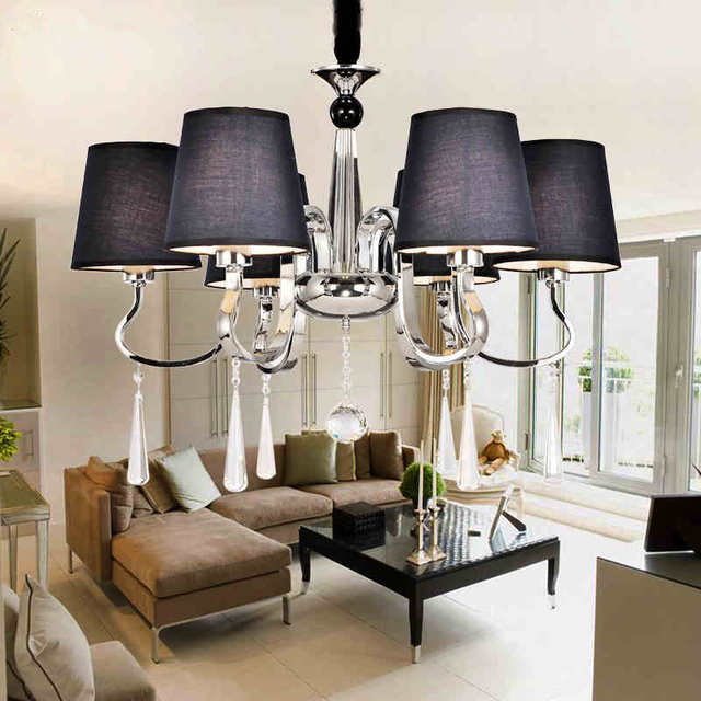 Modern Led Chandeliers Navy Blue Fabric Shade 6 Arms E27 Re