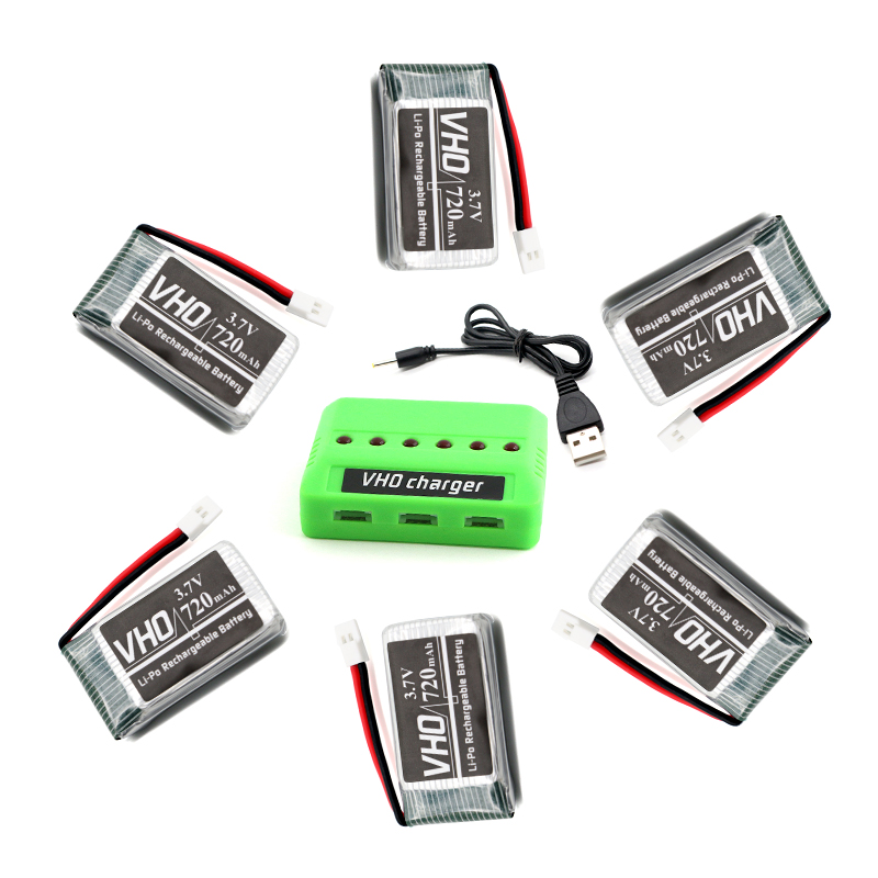 VHO 6PCS 3.7V 720mAh 25C Lipo Battery and 6in1 charger box for Syma X5 X5C H5C X5SC X5A RC Quadcopter 6IR8 3pcs battery and european regulation charger with 1 cable 3 line for mjx b3 helicopter 7 4v 1800mah 25c aircraft parts