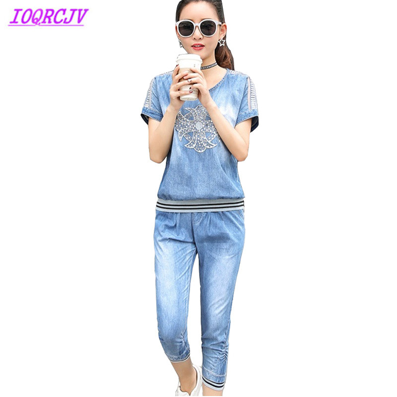 Denim sets woman two pieces sets 2018 Short sleeve top and Elastic Waist jeans woman set Casual Plus size outfits IOQRCJV H275