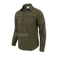 Shanghai Story Quick drying Removable Sleeve Dress Men's Shirt Breathable Slim Fit Combat Military Traning Cargo Shirt