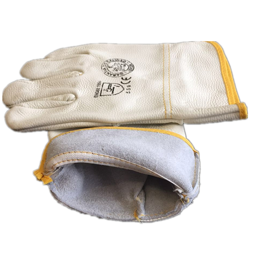 1 Pair Working Gloves Cowhide Leather Insulation Welder Welding Gloves Safety Protective Garden Sports Wear-resisting Gloves NEW