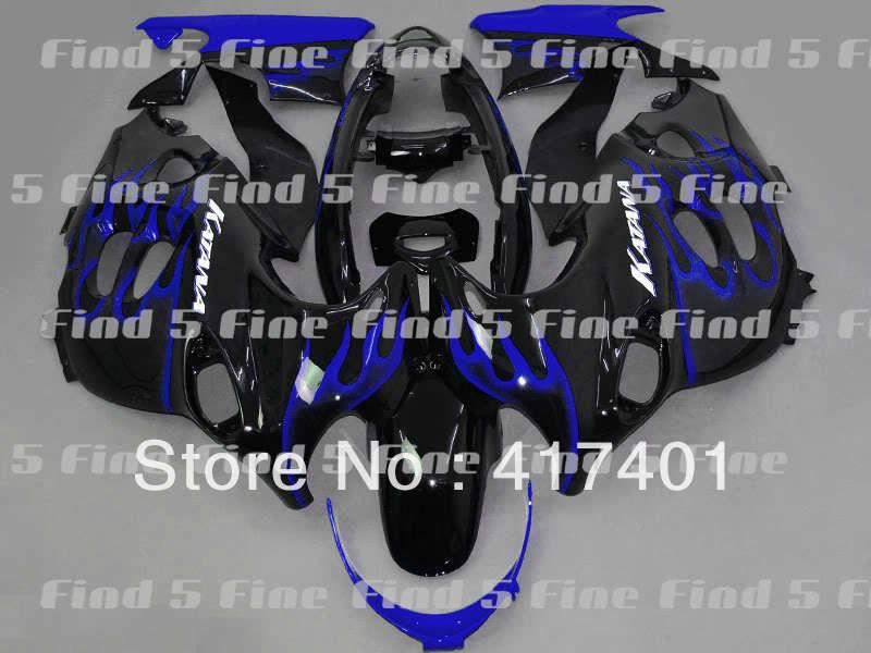 Buy blue flame black fairings for GSX600F 03 04 05 06 Katana 03-06 GSX750F 2003-2006 600F 750F 2003 2004 2005 2006 ABS fairing kit