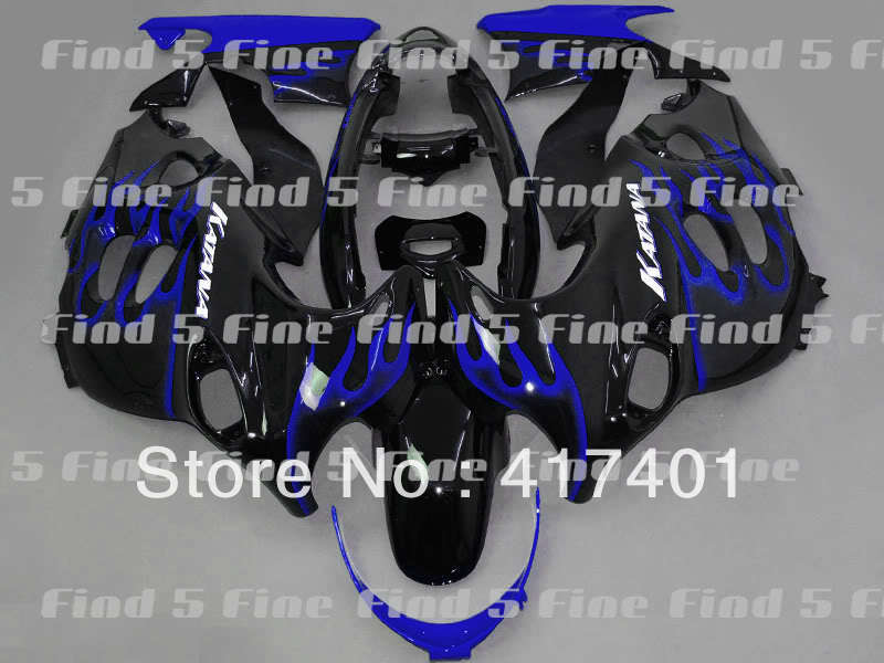 blue flame black fairings for GSX600F 03 04 05 06 Katana 03-06 GSX750F 2003-2006 600F 750F 2003 2004 2005 2006 ABS fairing kit flame trees of thika