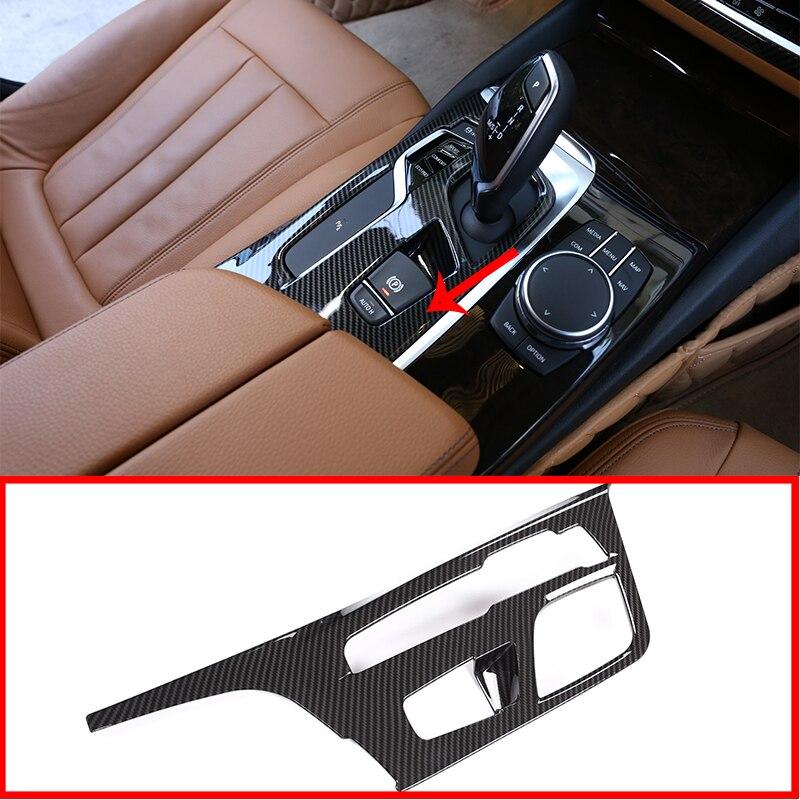 Для BMW NEW 5 Series G30 2018 автомобильные аксессуары 1 шт. углеродное волокно центральная консоль панельная Накладка для коробки передач отделка LHD