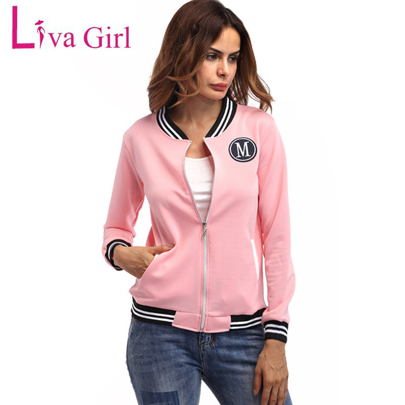 Liva Girl Autumn   Basic     Jackets   Coats Women Zipper Streetwear Female Oversize Tops Windbreaker Women Bomber   Jacket   Outerwear