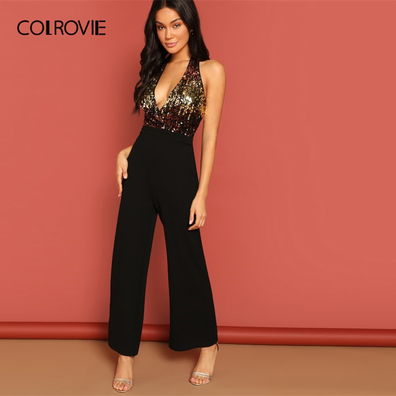 COLROVIE Black Halter Neck Sequin Bodice Sexy Party Jumpsuit Romper Women Clothing 2019 Spring Fashion Office Lady Jumpsuits