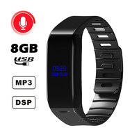 4 in 1 Digital Voice Recorder Watch Time Display 8GB USB Disk Voice Activated Recording MP3 Music Player Smart Wristband Style