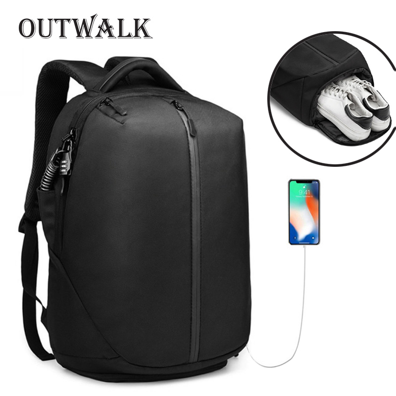 OUTWALK City Concise Backpack Anti Theft Zipper 15 6 inch Laptop Bag College School Business Men