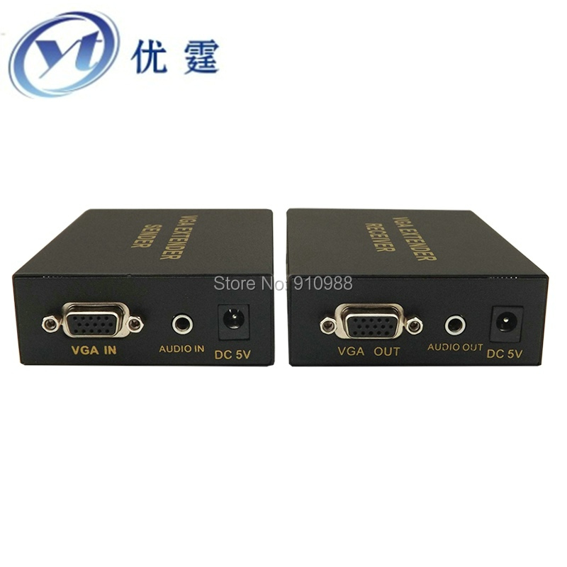 PC Video extender tranports VGA video and audio signal over CAT5E cable up to 300 meters