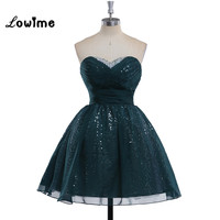 Short Mini Dark Green Sequin Sparkling Homecoming Dresses 8th Grade Graduation Party Dress Vestido Curto Robe
