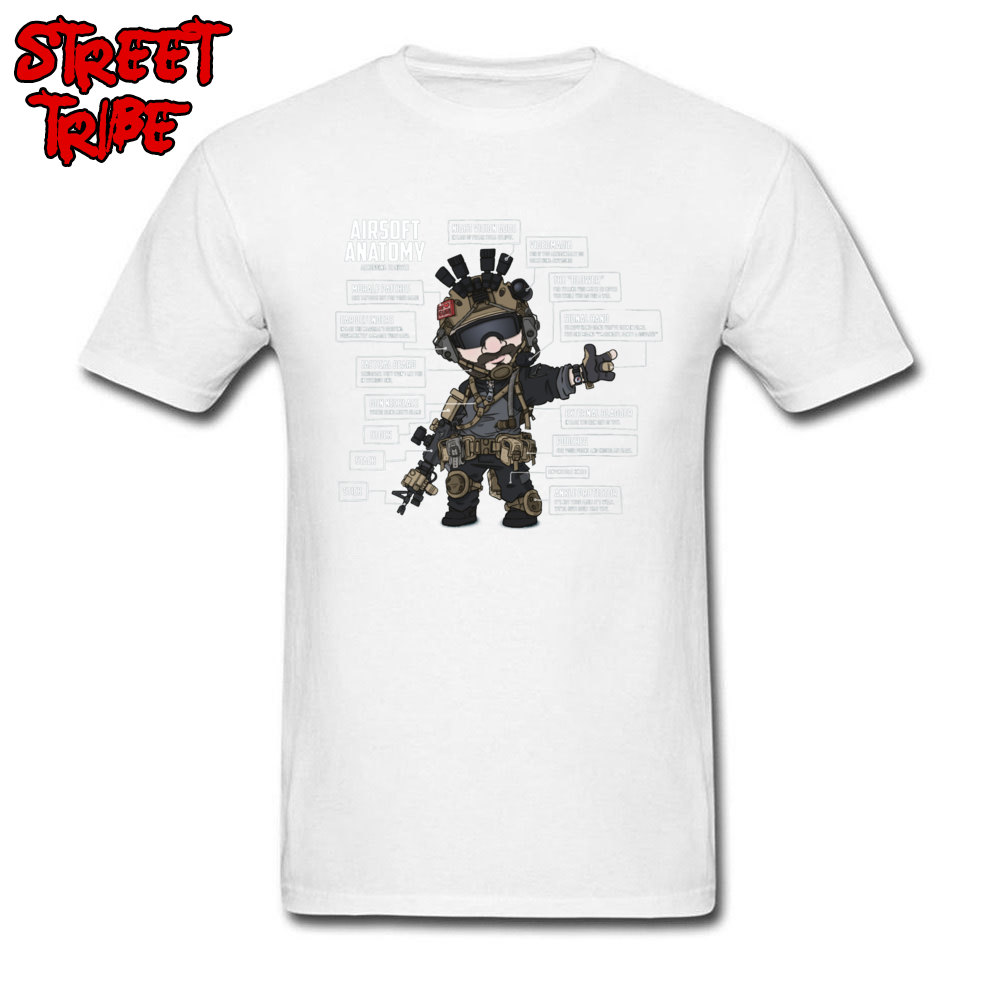 US $7 32 40% OFF|Men's T Shirt AIRSOFT ANATOMY T Shirts Male Military Style  Tshirt Black Tops & Tees Round Collar 100% Cotton Fabric Streetwear-in