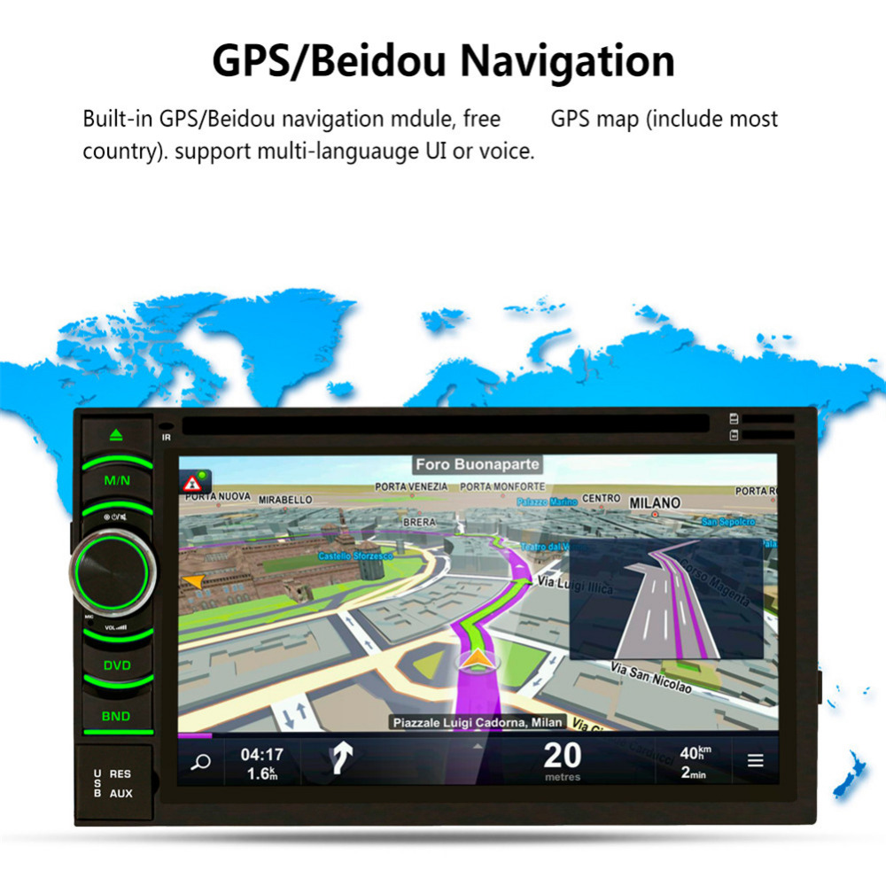 New 2017 6.5 HD Capacitive Quad Core Android 5.1.1 Touch Screen 2Din Car DVD Player GPS Navigation Bluetooth WIFI SD/USB/FM/AM