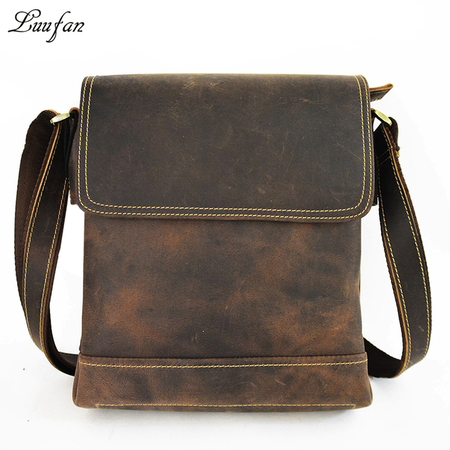 e6030b965942 Men s Crazy horse leather shoulder bag Vintage Genuine leather messenger bag  Cow leather casual bag iPad