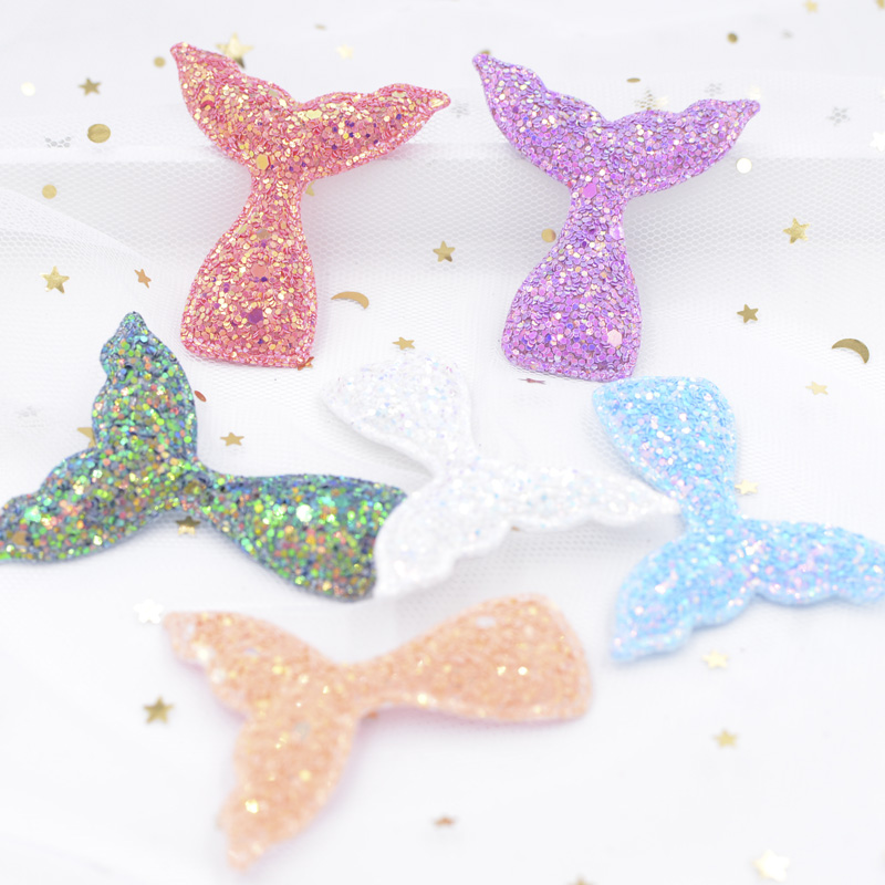 Hot Sale 12pcs 5550mm Paillette Padded Patches Glitter Mermaid Tail
