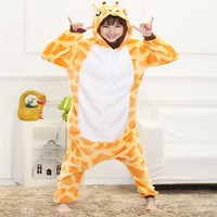 Free Shipping Cute Autumn And Winter Cartoon Animals Giraffe Flannel Pajamas For Women Adult Long Sleeve