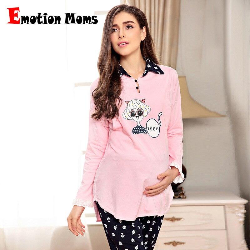 все цены на Emotion Moms Long sleeve Maternity Pajamas set Nursing Clothes Breastfeeding Sleepwear for Pregnant Women Maternity nightgown