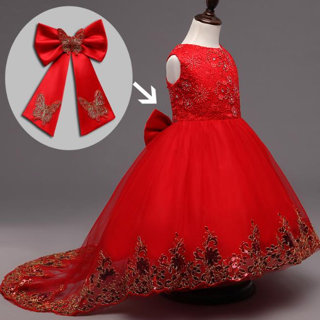 Embroidery Flower Girl Dress Kids Big Bow Sequin Clothes for Wedding Party Long Tail Summer Princess Evening Prom Dresses girls dress new summer flower kids party dresses for wedding children s princess girl evening prom toddler beading clothes 3 12