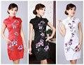 Hot Sale Fashion Qipao Chinese Women's Clothing Cheong-sam Mini Qipao Dress Flower Size S M L XL XXL D0179