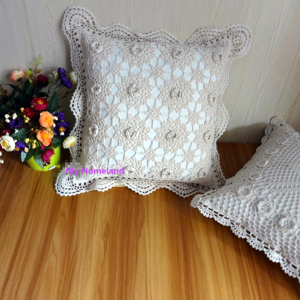 100 coton crochet fait main housse de coussin taie d. Black Bedroom Furniture Sets. Home Design Ideas