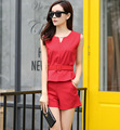 Europe set new V collar female summer sleeveless top small fragrant fashion leisure two piece female