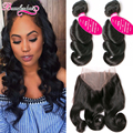 360 Lace Frontal With Bundle Loose Wave 2 Bundles Peruvian Loose Wave With Frontal Closure #1B Peruvian Virgin Hair With Closure