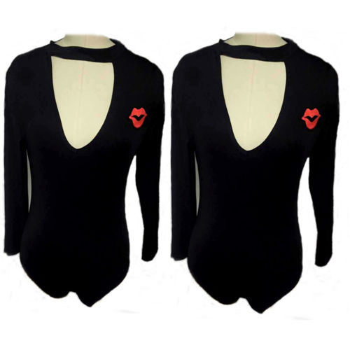 Women's Clothing Womens Sexy Choker V-neck Long Sleeve Vermilion Border Black Bodysuit Solid Skinny Jumpsuit Save 50-70%