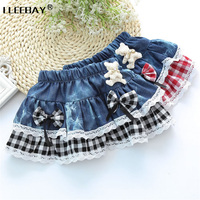 For 2 6y Baby Girls Tutu Jean Skirts Kids Plaid Costumes With Bow Bear Lace Skirt